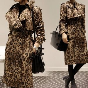 Jackets & Blazers - Leopard Print Belted Trench Coat 🐆